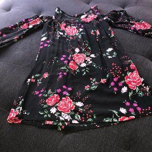 Black with flowers cold shoulder old navy dress